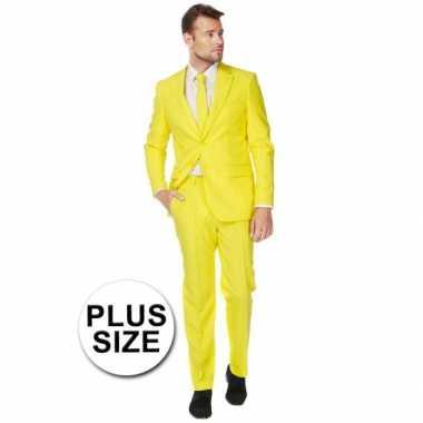 Big size heren carnavalpak geel