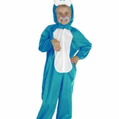 Blauwe paashaas kinder carnavalpak