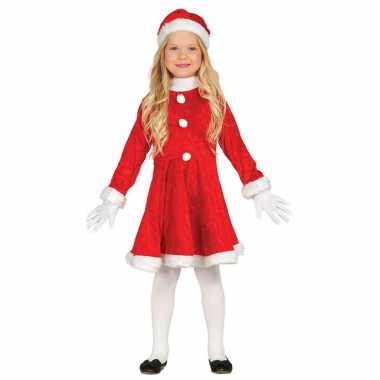 Budget kerstjurkje verkleed carnavalpak met muts voor meisjes