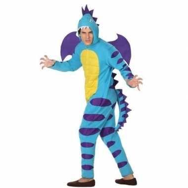 Carnaval/feest blauwe draak verkleed carnavalpak voor volwassenen