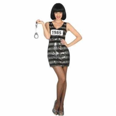 Carnaval/feest boeven/gevangenen verkleedcarnavalpak jurkje ann zwart