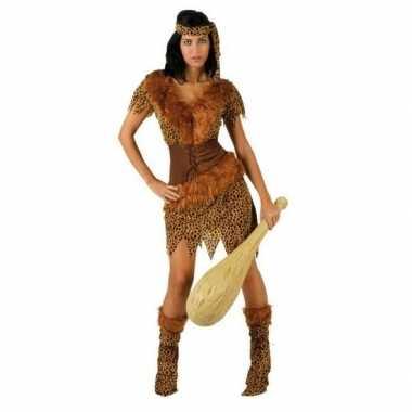 Carnaval/feest holbewoonster ayla oertijd verkleedcarnavalpak voor da