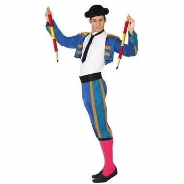 Carnaval/feest matador/stierenvechter verkleedcarnavalpak blauw voor