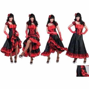 Carnavalpak dansjurk rood met zwart