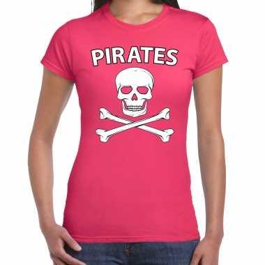 Carnavalpak fout piraten shirt roze dames