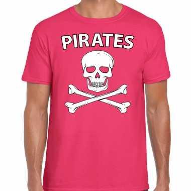 Carnavalpak fout piraten shirt roze heren