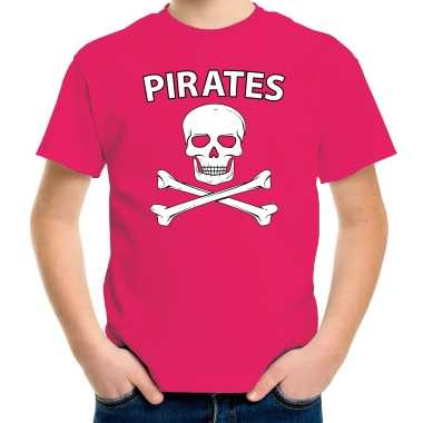 Carnavalpak fout piraten shirt roze kids