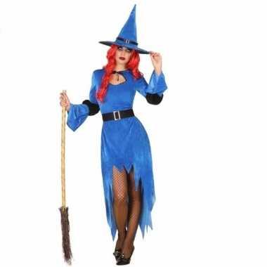 Carnavalpak heksen jurk blauw voor dames
