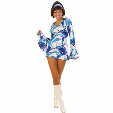 Carnavalpak Hippie jurk dames blauw
