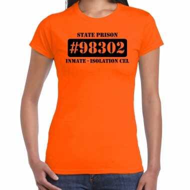 Carnavalpak isolation cel boeven / gevangenen shirt oranje dames