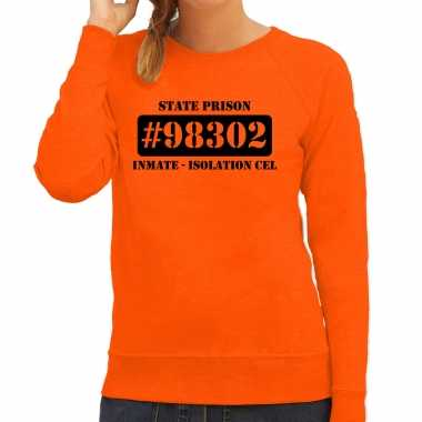 Carnavalpak isolation cel boeven / gevangenen sweater oranje dames