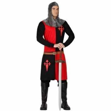 Carnavalpak middeleeuwse ridder zwart/ rood voor heren