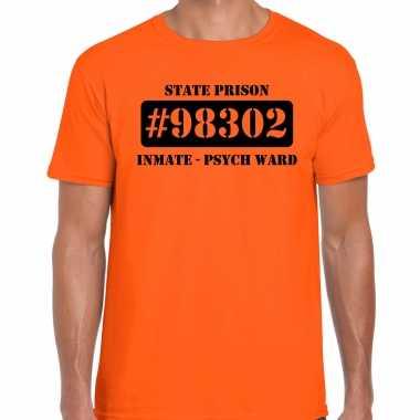 Carnavalpak psych ward boeven / gevangenen shirt oranje heren