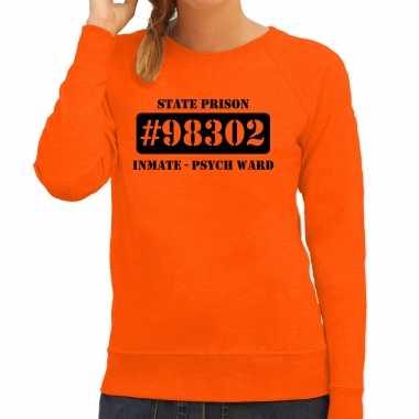 Carnavalpak psych ward boeven / gevangenen sweater oranje dames