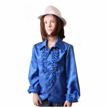 Carnavalpak rouches kobaltblauw voor kinderen