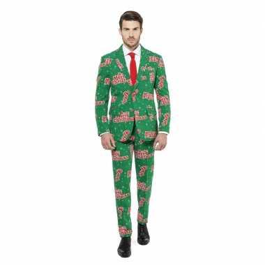 Compleet carnavalpak groen met kerst print