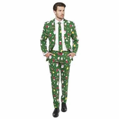 Compleet carnavalpak met kerst print groen