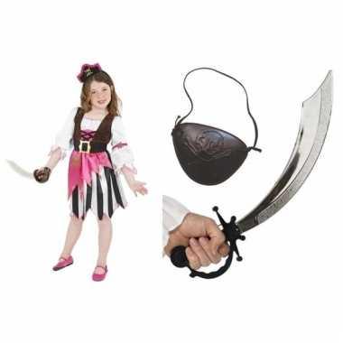Compleet carnavalpak set piraat voor meisjes