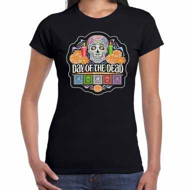 Day of the dead / dag van de doden halloween verkleed t shirt / carnavalpak zwart voor dames
