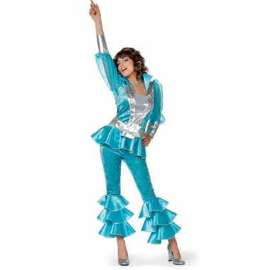 Disco carnavalpak voor dames blauw
