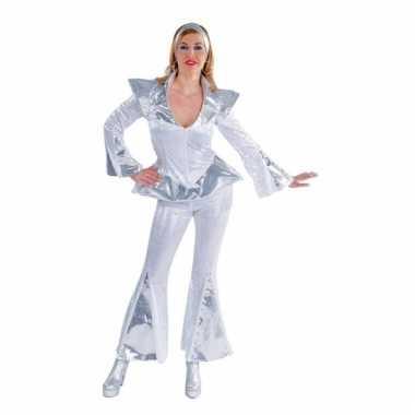 Disco carnavalpak voor dames wit/zilver