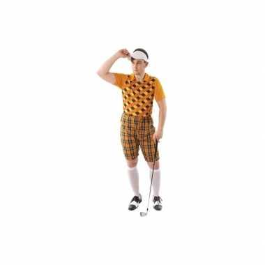 Drie delig golf carnavalpak oranje voor heren
