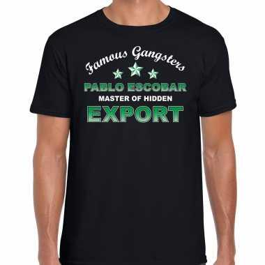 Famous gangsters pablo escobar tekst t shirt / carnavalpak zwart heren