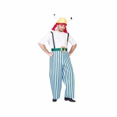 Gallier carnavalpak blauw wit voor heren