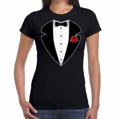 Gangster / maffia pak carnavalpak t shirt zwart voor dames