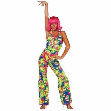 Gekleurde dames seventies carnavalpak