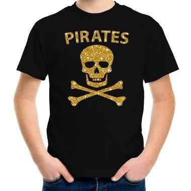 Gouden glitter carnavalpak piraten shirt zwart kids