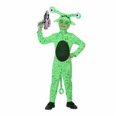 Groen alien carnavalpak met space gun maat 128