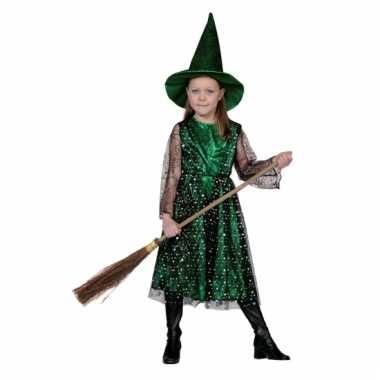 Groene heksencarnavalpak kinderen