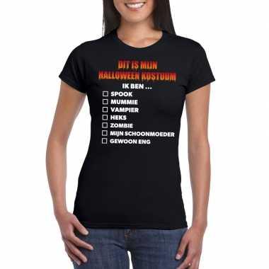 Halloween halloween carnavalpak lijstje t shirt zwart dames