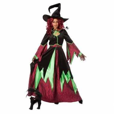 Heksen carnavalpak rood/groen vrouwen