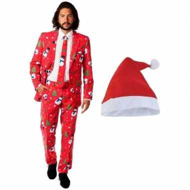 Heren opposuits kerst carnavalpak rood met kerstmuts maat 50 (l)