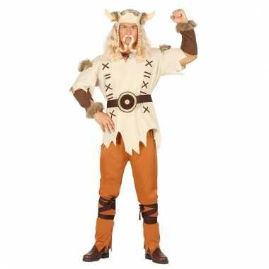 Heren vikings carnavalpak bruin 6 delig