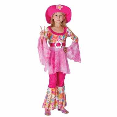 Hippie thema carnavalpak voor meisjes roze