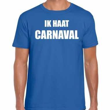 Ik haat carnaval verkleed t shirt / carnavalpak blauw voor heren