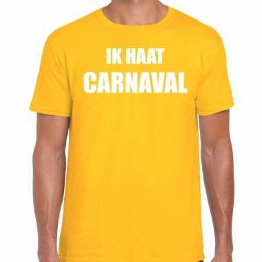 Ik haat carnaval verkleed t shirt / carnavalpak geel voor heren