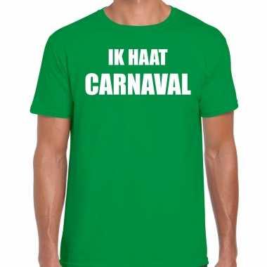 Ik haat carnaval verkleed t shirt / carnavalpak groen voor heren