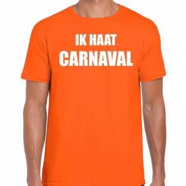 Ik haat carnaval verkleed t shirt / carnavalpak oranje voor heren