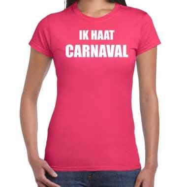 Ik haat carnaval verkleed t shirt / carnavalpak roze voor dames