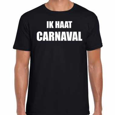 Ik haat carnaval verkleed t shirt / carnavalpak zwart voor heren