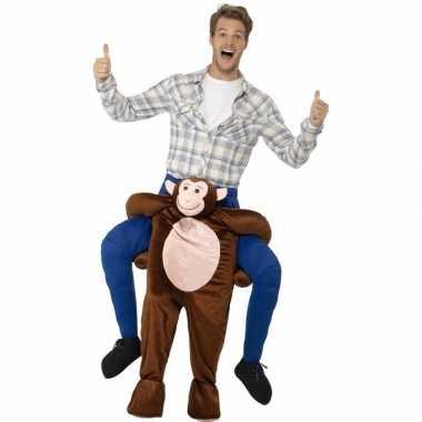 Instap dierenpak carnavalpak aap voor volwassenen