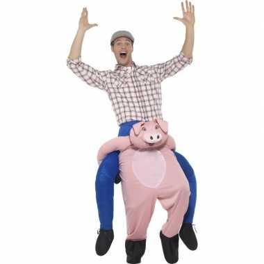 Instap dierenpak carnavalpak varken voor volwassenen