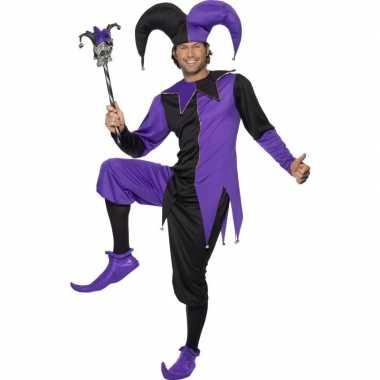 Joker carnavalpak zwart/paars voor heren