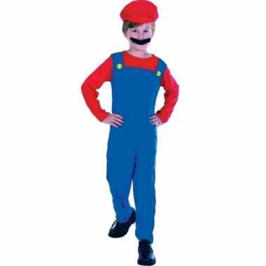 Loodgieter mario verkleed carnavalpak voor kinderen