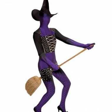 Morphsuit carnavalpak paarse heks