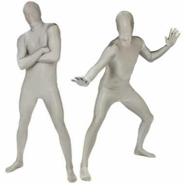 Morphsuit carnavalpak zilver
